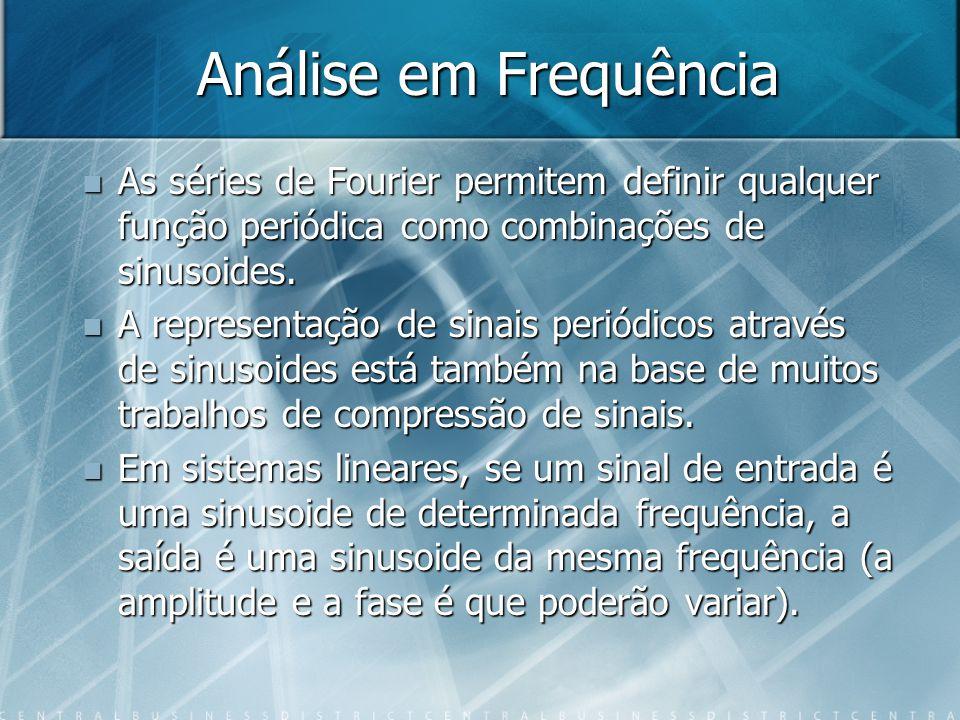 Sistemas Lineares Os sistemas lineares não alteram a frequência do sinal, podem apenas mudar a amplitude e a fase.