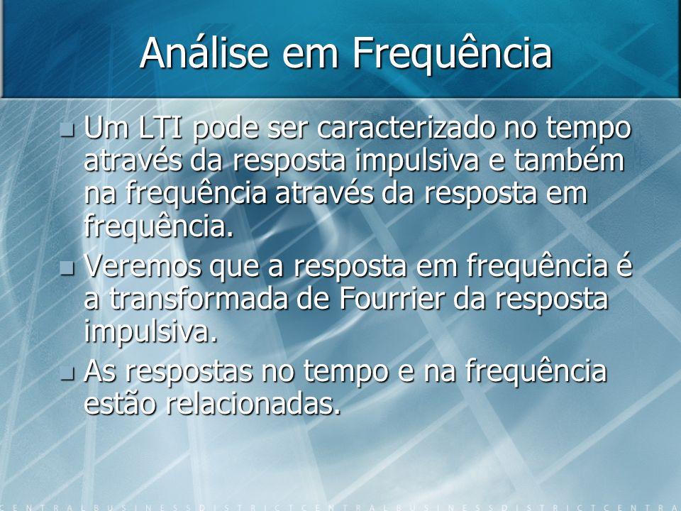 Análise em Frequência Um LTI pode ser caracterizado no tempo através da resposta impulsiva e também na frequência através da resposta em frequência.