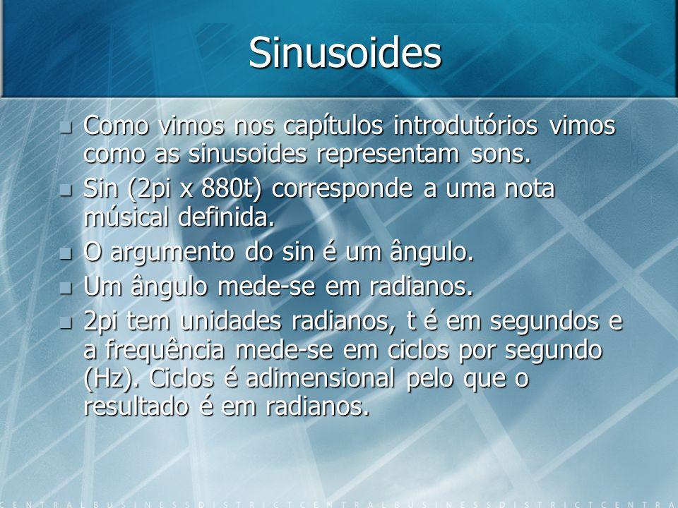 Sinusoides Como vimos nos capítulos introdutórios vimos como as sinusoides representam sons.