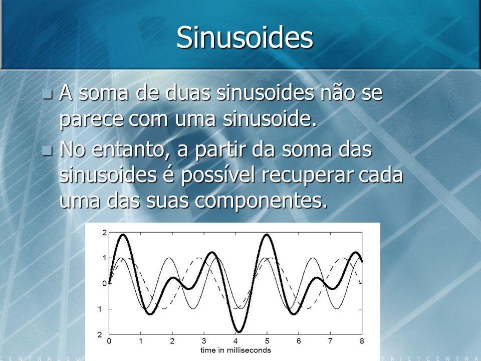 Sinusoides A soma de duas sinusoides não se parece com uma sinusoide.