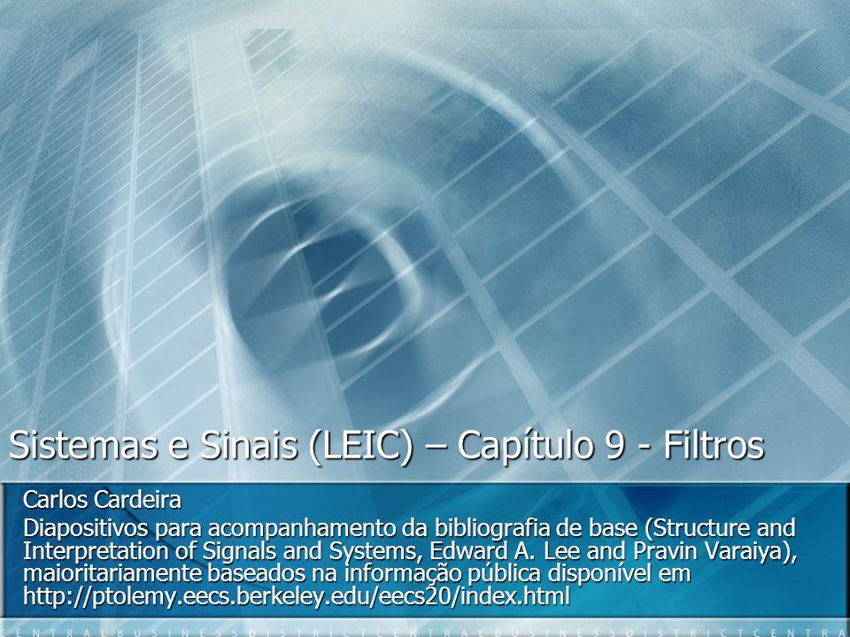 Sistemas e Sinais (LEIC) – Capítulo 9 - Filtros Carlos Cardeira Diapositivos para acompanhamento da bibliografia de base (Structure and Interpretation