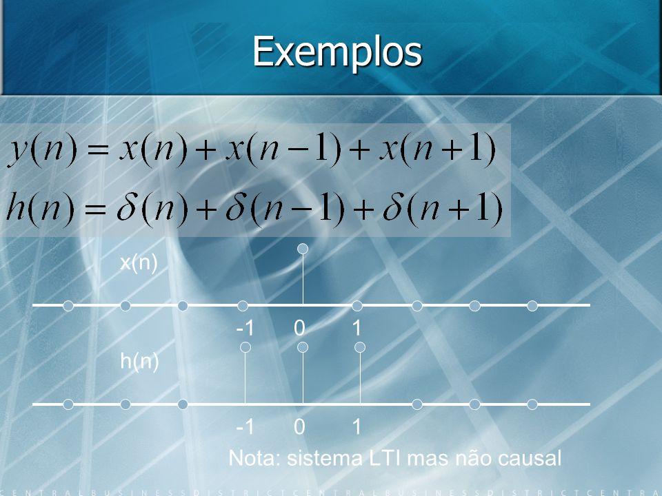 Exemplos h(n) 01 x(n) 01 Nota: sistema LTI mas não causal