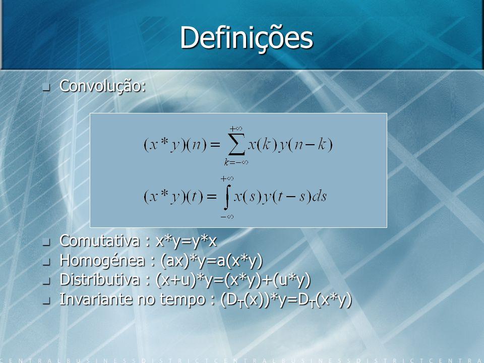 Definições Convolução: Convolução: Comutativa : x*y=y*x Comutativa : x*y=y*x Homogénea : (ax)*y=a(x*y) Homogénea : (ax)*y=a(x*y) Distributiva : (x+u)*