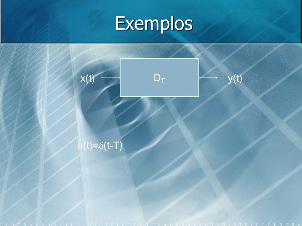 Exemplos x(t) DTDT y(t) h(t)= (t-T)