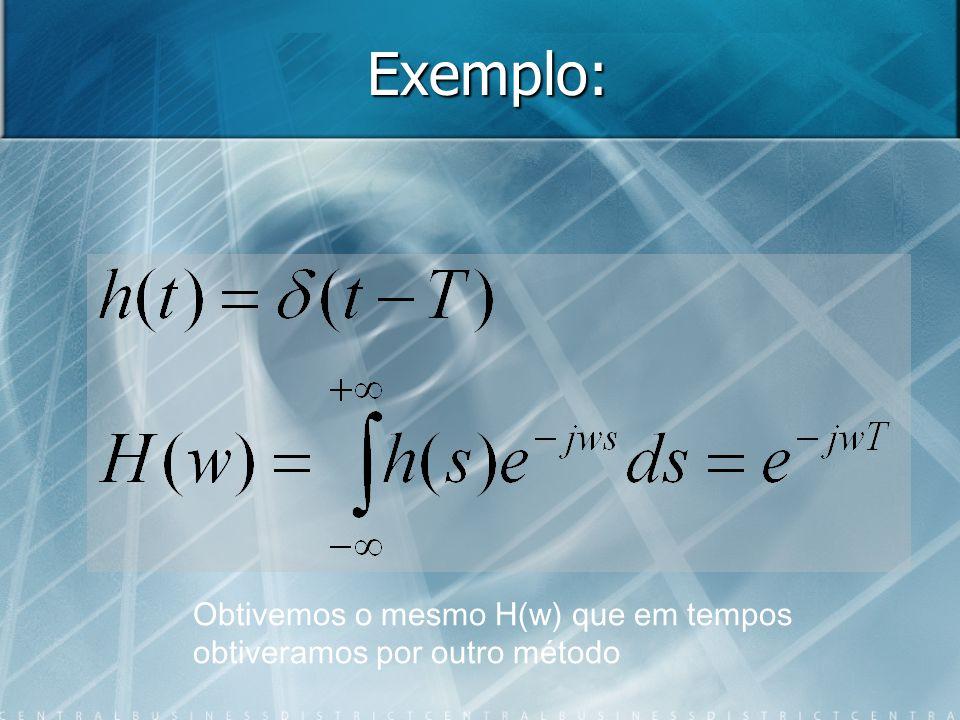 Exemplo: Obtivemos o mesmo H(w) que em tempos obtiveramos por outro método