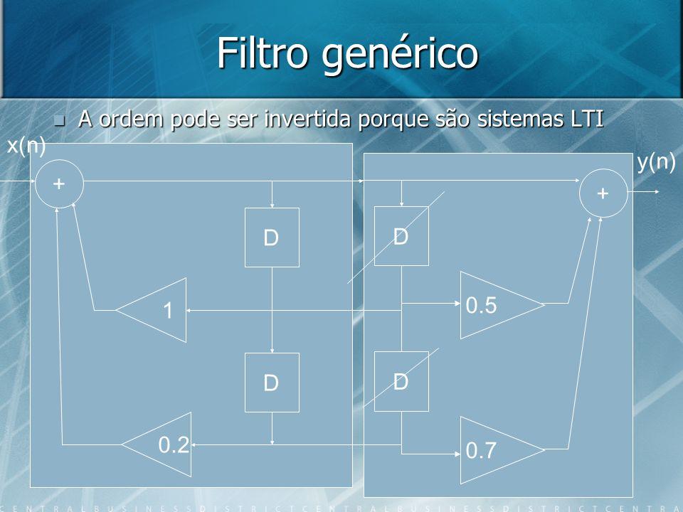 Filtro genérico A ordem pode ser invertida porque são sistemas LTI A ordem pode ser invertida porque são sistemas LTI D D + 1 0.2 D D + 0.5 0.7 x(n) y