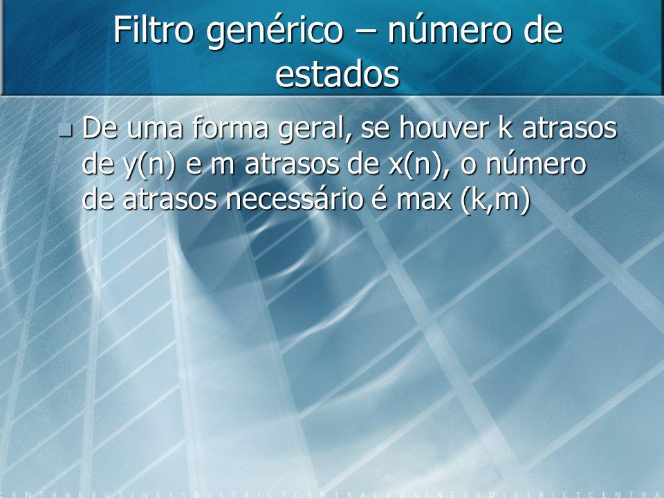 Filtro genérico – número de estados De uma forma geral, se houver k atrasos de y(n) e m atrasos de x(n), o número de atrasos necessário é max (k,m) De