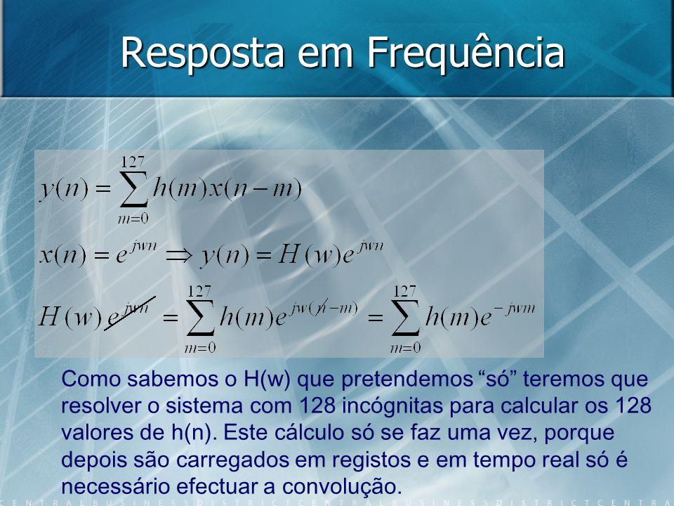Resposta em Frequência Como sabemos o H(w) que pretendemos só teremos que resolver o sistema com 128 incógnitas para calcular os 128 valores de h(n).