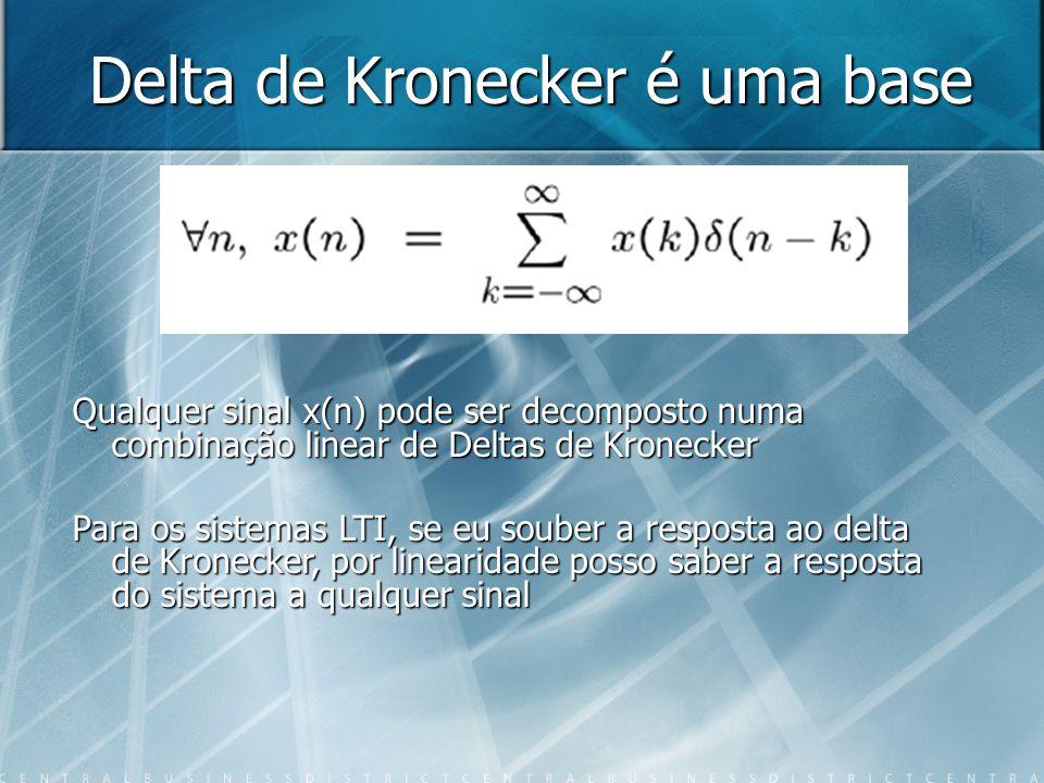 Delta de Kronecker é uma base Qualquer sinal x(n) pode ser decomposto numa combinação linear de Deltas de Kronecker Para os sistemas LTI, se eu souber