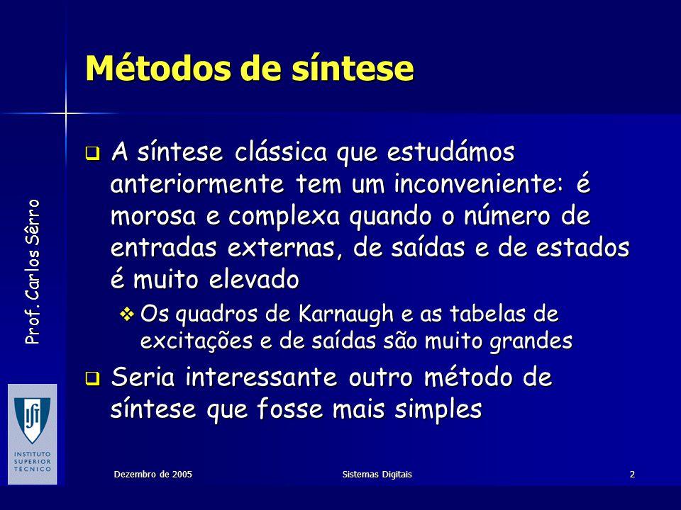 Prof. Carlos Sêrro Dezembro de 2005Sistemas Digitais2 Métodos de síntese A síntese clássica que estudámos anteriormente tem um inconveniente: é morosa