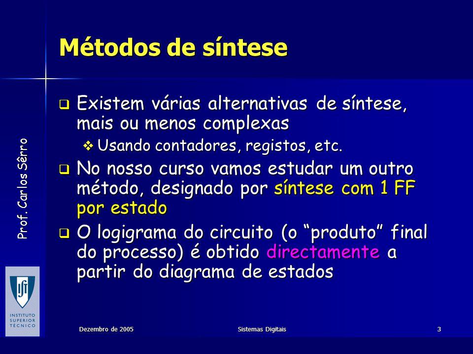 Prof. Carlos Sêrro Dezembro de 2005Sistemas Digitais3 Métodos de síntese Existem várias alternativas de síntese, mais ou menos complexas Existem vária