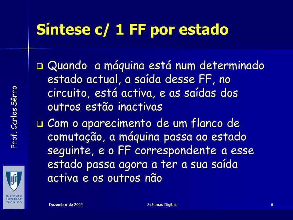 Prof. Carlos Sêrro Dezembro de 2005Sistemas Digitais6 Síntese c/ 1 FF por estado Quando a máquina está num determinado estado actual, a saída desse FF