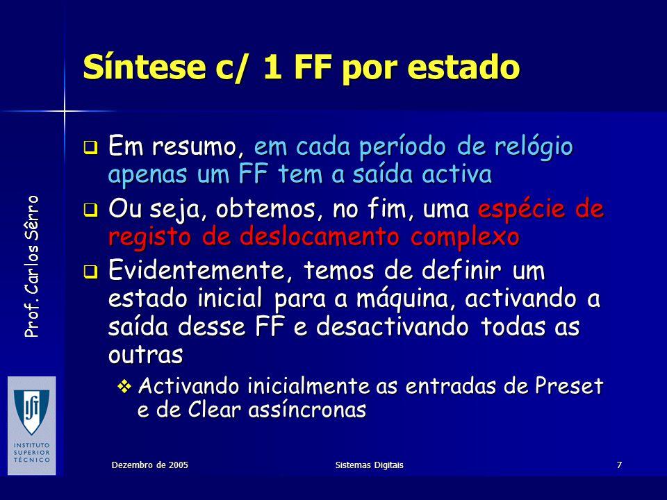 Prof. Carlos Sêrro Dezembro de 2005Sistemas Digitais7 Síntese c/ 1 FF por estado Em resumo, em cada período de relógio apenas um FF tem a saída activa