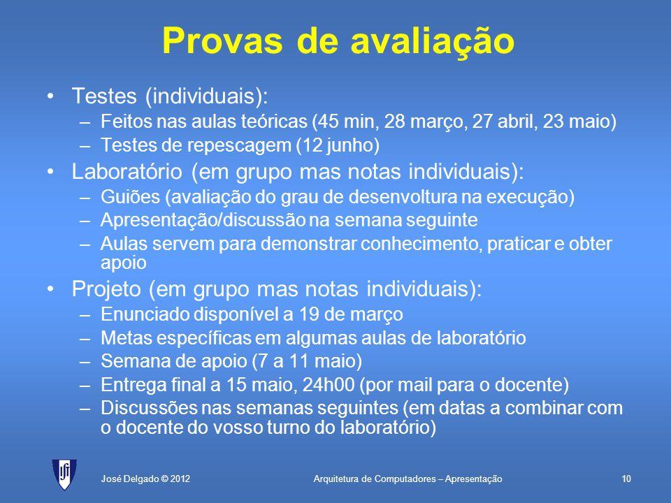 Arquitetura de Computadores – Apresentação10José Delgado © 2012 Provas de avaliação Testes (individuais): –Feitos nas aulas teóricas (45 min, 28 março