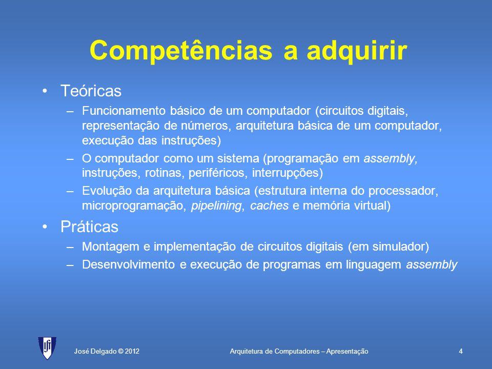 Arquitetura de Computadores – Apresentação4José Delgado © 2012 Competências a adquirir Teóricas –Funcionamento básico de um computador (circuitos digi