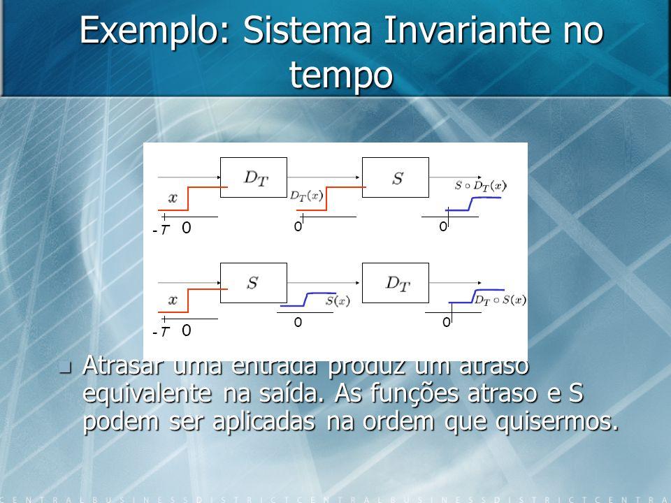 Exemplo: Sistema Invariante no tempo Atrasar uma entrada produz um atraso equivalente na saída. As funções atraso e S podem ser aplicadas na ordem que