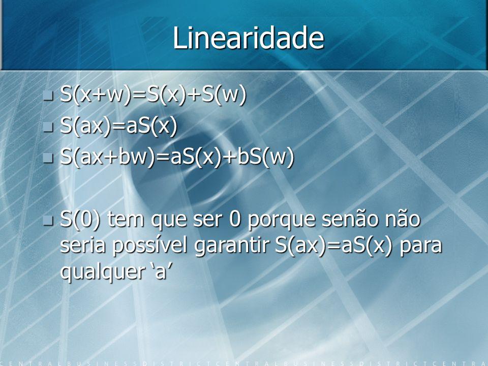 Linearidade S(x+w)=S(x)+S(w) S(x+w)=S(x)+S(w) S(ax)=aS(x) S(ax)=aS(x) S(ax+bw)=aS(x)+bS(w) S(ax+bw)=aS(x)+bS(w) S(0) tem que ser 0 porque senão não se
