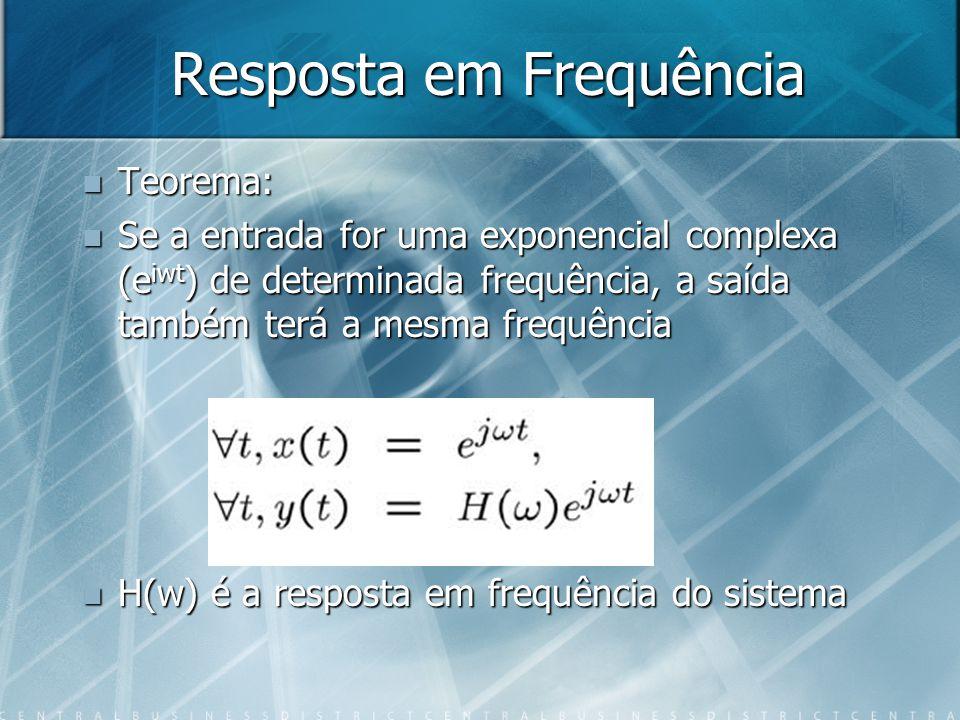 Resposta em Frequência Teorema: Teorema: Se a entrada for uma exponencial complexa (e iwt ) de determinada frequência, a saída também terá a mesma fre