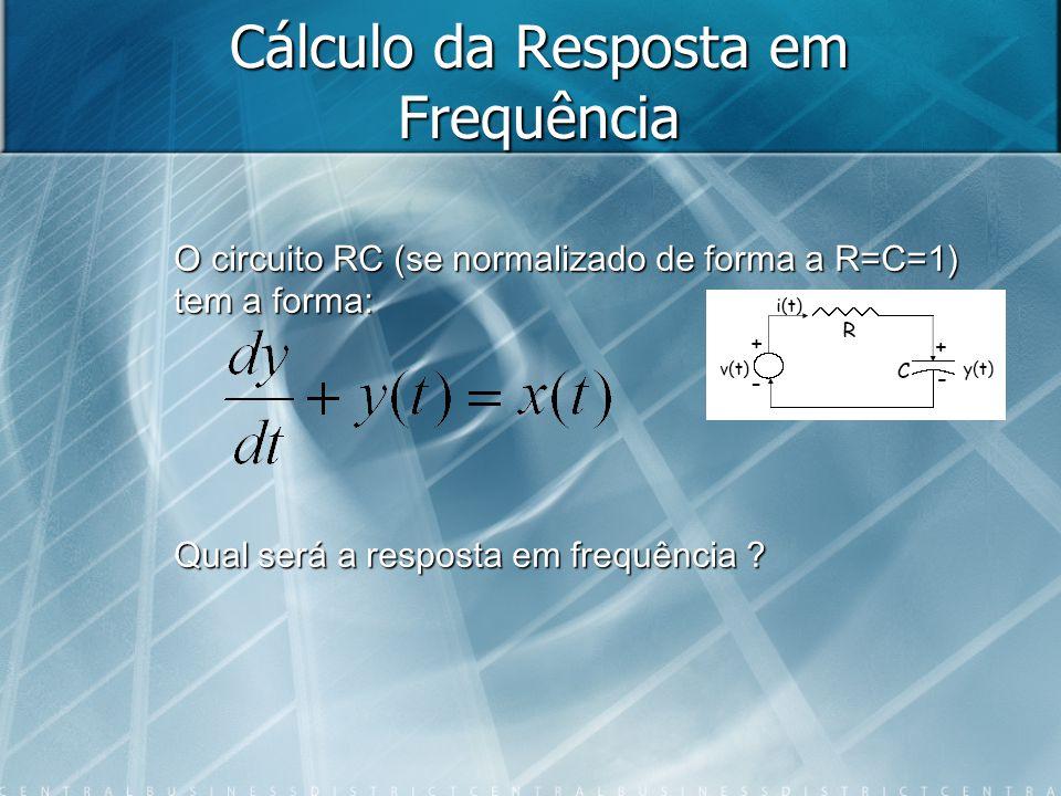 Cálculo da Resposta em Frequência O circuito RC (se normalizado de forma a R=C=1) tem a forma: Qual será a resposta em frequência ?