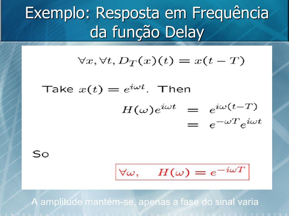 Exemplo: Resposta em Frequência da função Delay A amplitude mantém-se, apenas a fase do sinal varia