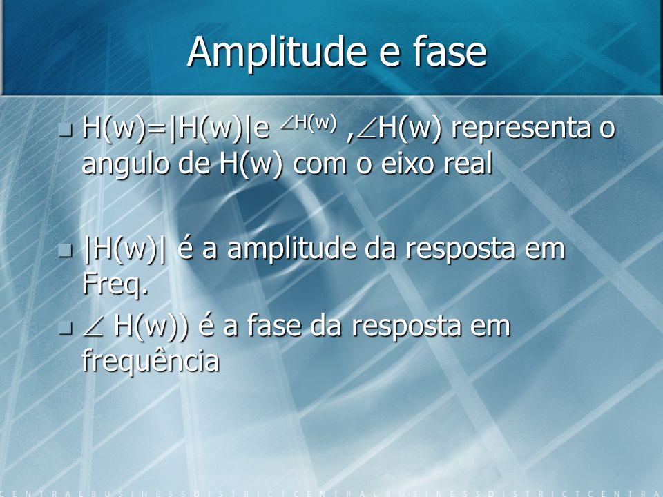 Amplitude e fase H(w)=|H(w)|e H(w), H(w) representa o angulo de H(w) com o eixo real H(w)=|H(w)|e H(w), H(w) representa o angulo de H(w) com o eixo re