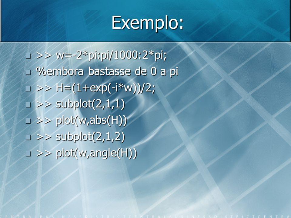 Exemplo: >> w=-2*pi:pi/1000:2*pi; >> w=-2*pi:pi/1000:2*pi; %embora bastasse de 0 a pi %embora bastasse de 0 a pi >> H=(1+exp(-i*w))/2; >> H=(1+exp(-i*