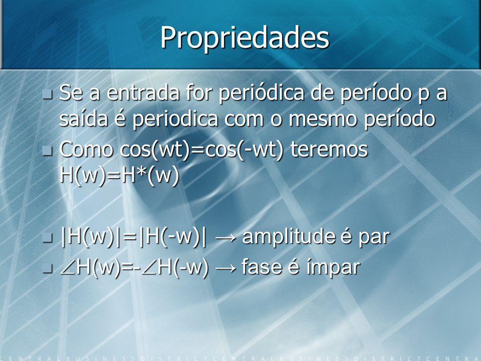 Propriedades Se a entrada for periódica de período p a saída é periodica com o mesmo período Se a entrada for periódica de período p a saída é periodi