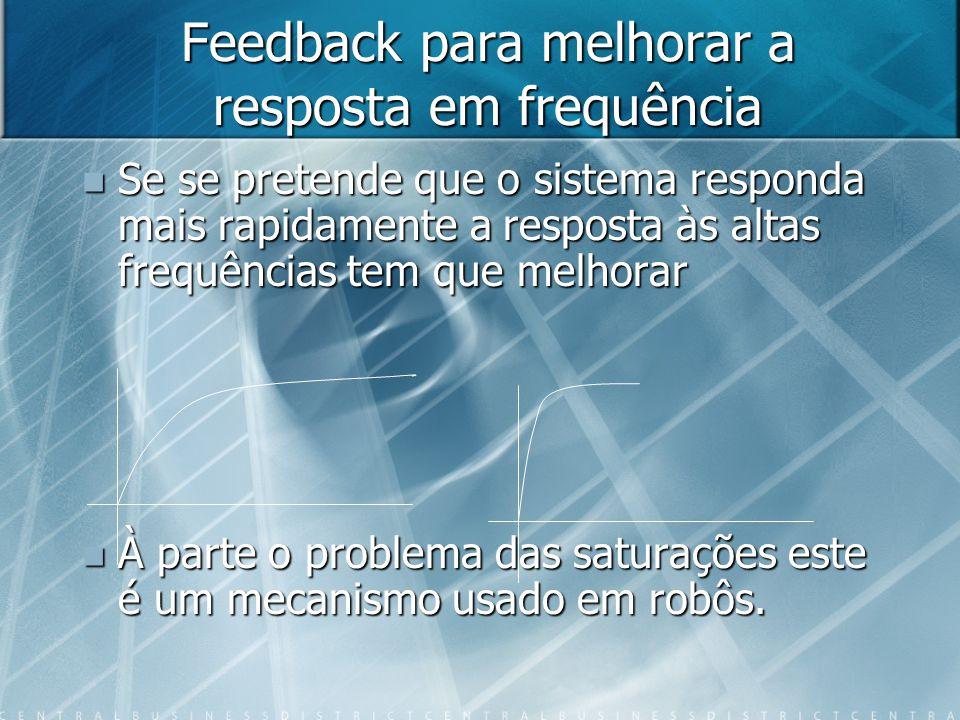 Feedback para melhorar a resposta em frequência Se se pretende que o sistema responda mais rapidamente a resposta às altas frequências tem que melhora