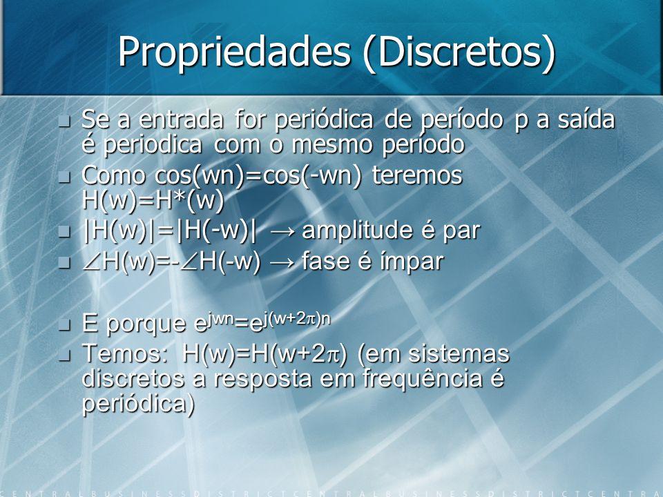 Propriedades (Discretos) Se a entrada for periódica de período p a saída é periodica com o mesmo período Se a entrada for periódica de período p a saí