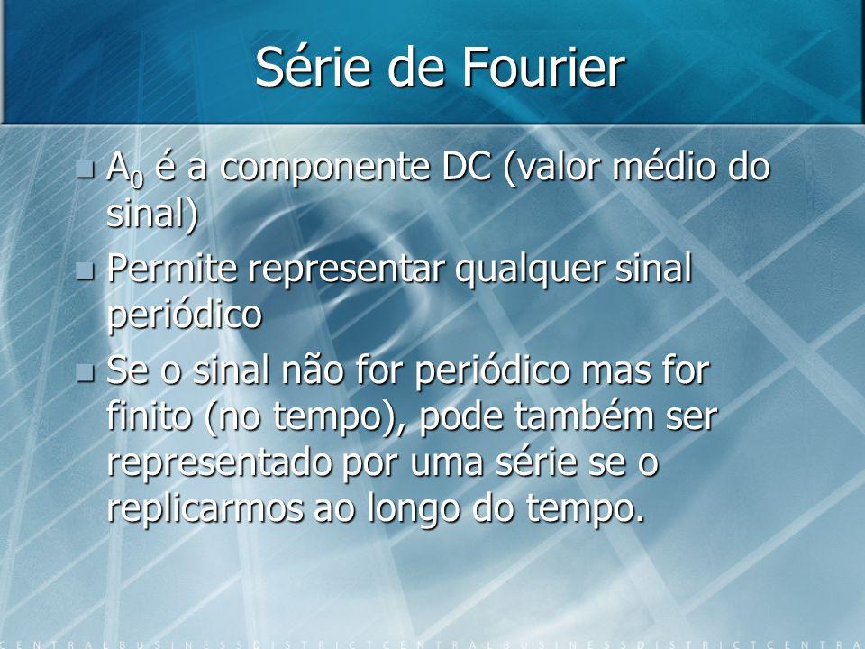 Série de Fourier A 0 é a componente DC (valor médio do sinal) A 0 é a componente DC (valor médio do sinal) Permite representar qualquer sinal periódic