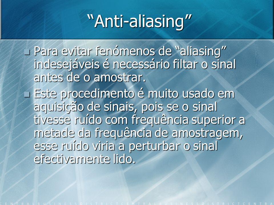 Anti-aliasing Para evitar fenómenos de aliasing indesejáveis é necessário filtar o sinal antes de o amostrar.