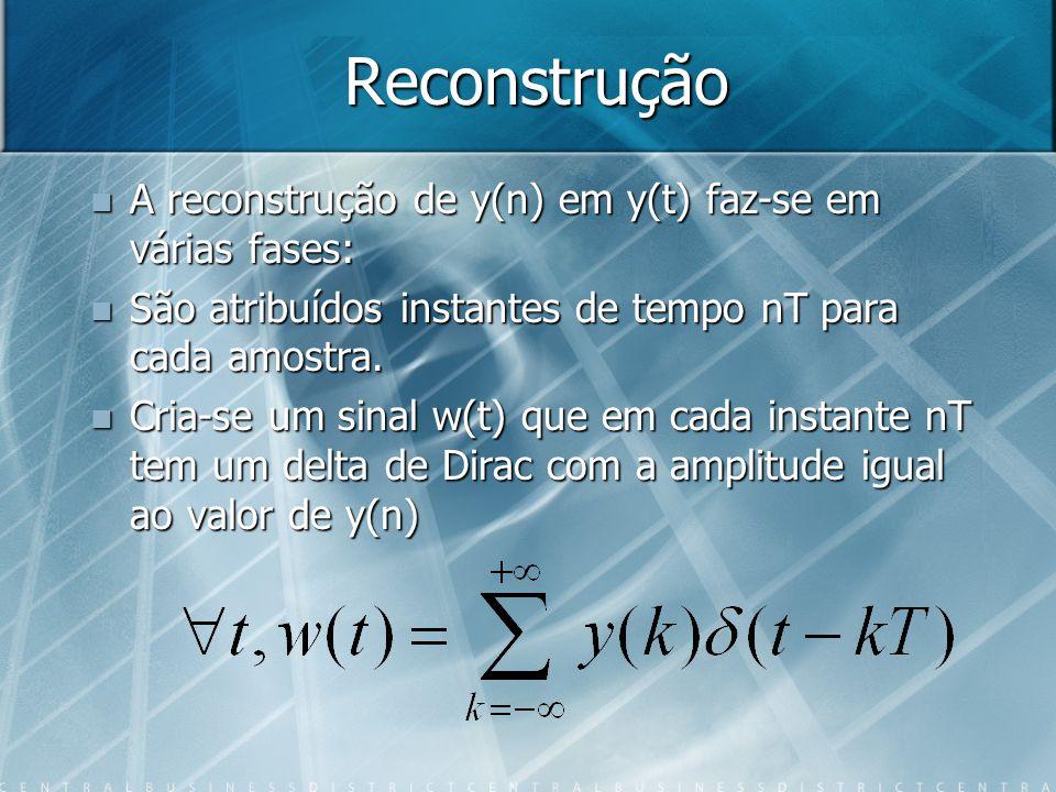 Reconstrução A reconstrução de y(n) em y(t) faz-se em várias fases: A reconstrução de y(n) em y(t) faz-se em várias fases: São atribuídos instantes de tempo nT para cada amostra.