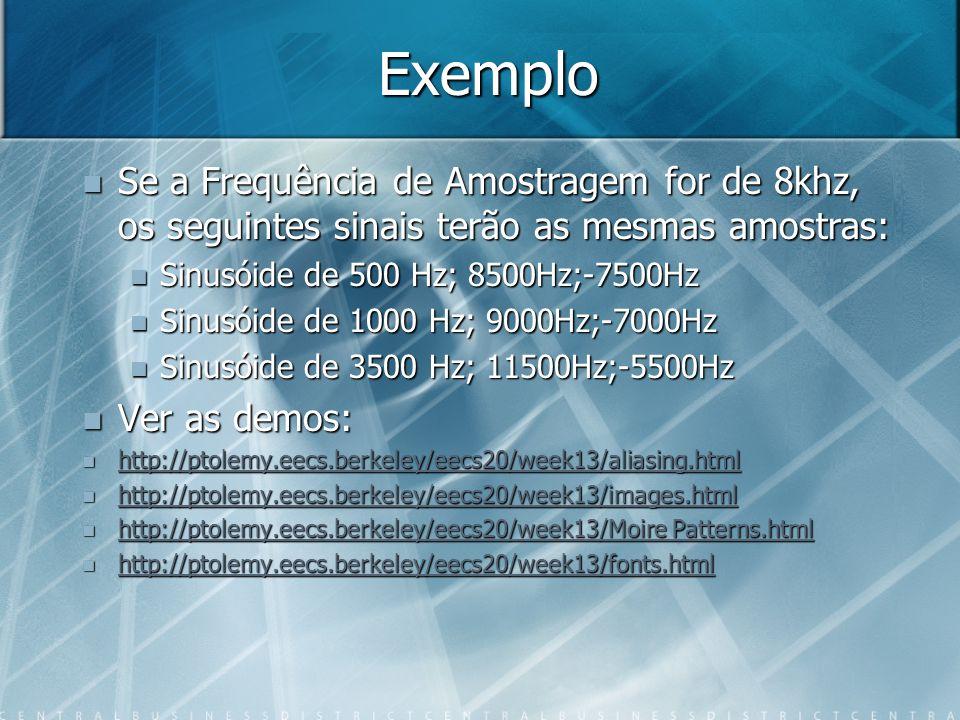 Exemplo Se a Frequência de Amostragem for de 8khz, os seguintes sinais terão as mesmas amostras: Se a Frequência de Amostragem for de 8khz, os seguintes sinais terão as mesmas amostras: Sinusóide de 500 Hz; 8500Hz;-7500Hz Sinusóide de 500 Hz; 8500Hz;-7500Hz Sinusóide de 1000 Hz; 9000Hz;-7000Hz Sinusóide de 1000 Hz; 9000Hz;-7000Hz Sinusóide de 3500 Hz; 11500Hz;-5500Hz Sinusóide de 3500 Hz; 11500Hz;-5500Hz Ver as demos: Ver as demos: http://ptolemy.eecs.berkeley/eecs20/week13/aliasing.html http://ptolemy.eecs.berkeley/eecs20/week13/aliasing.html http://ptolemy.eecs.berkeley/eecs20/week13/aliasing.html http://ptolemy.eecs.berkeley/eecs20/week13/images.html http://ptolemy.eecs.berkeley/eecs20/week13/images.html http://ptolemy.eecs.berkeley/eecs20/week13/images.html http://ptolemy.eecs.berkeley/eecs20/week13/Moire Patterns.html http://ptolemy.eecs.berkeley/eecs20/week13/Moire Patterns.html http://ptolemy.eecs.berkeley/eecs20/week13/Moire Patterns.html http://ptolemy.eecs.berkeley/eecs20/week13/Moire Patterns.html http://ptolemy.eecs.berkeley/eecs20/week13/fonts.html http://ptolemy.eecs.berkeley/eecs20/week13/fonts.html http://ptolemy.eecs.berkeley/eecs20/week13/fonts.html