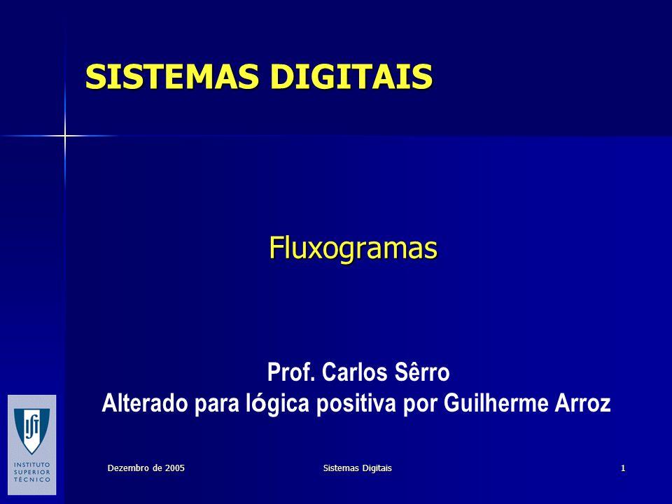 Dezembro de 2005 Sistemas Digitais 1 Fluxogramas Prof. Carlos Sêrro Alterado para l ó gica positiva por Guilherme Arroz SISTEMAS DIGITAIS