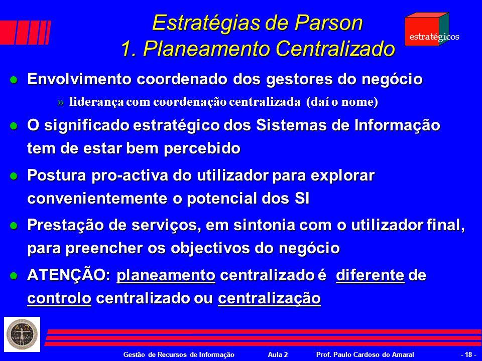 Gestão de Recursos de InformaçãoAula 2Prof. Paulo Cardoso do Amaral- 17 - Estratégias de gestão de SI ou como adequar a oferta de TI l Como gerir as o