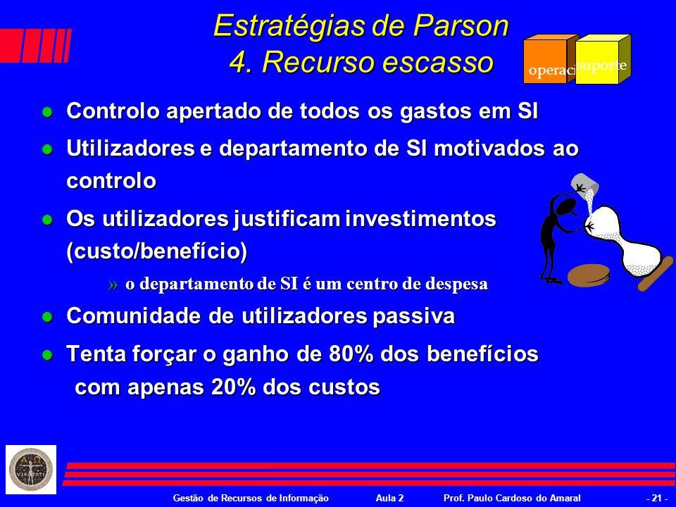 Gestão de Recursos de InformaçãoAula 2Prof. Paulo Cardoso do Amaral- 20 - Estratégias de Parson 3.