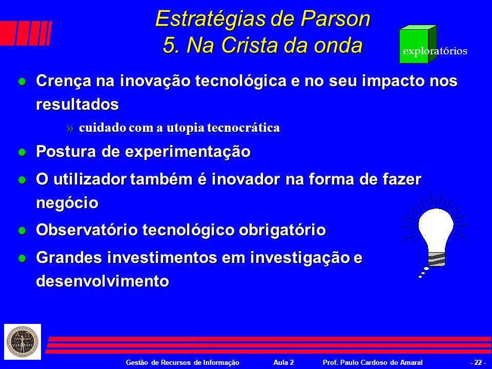 Gestão de Recursos de InformaçãoAula 2Prof. Paulo Cardoso do Amaral- 21 - Estratégias de Parson 4.