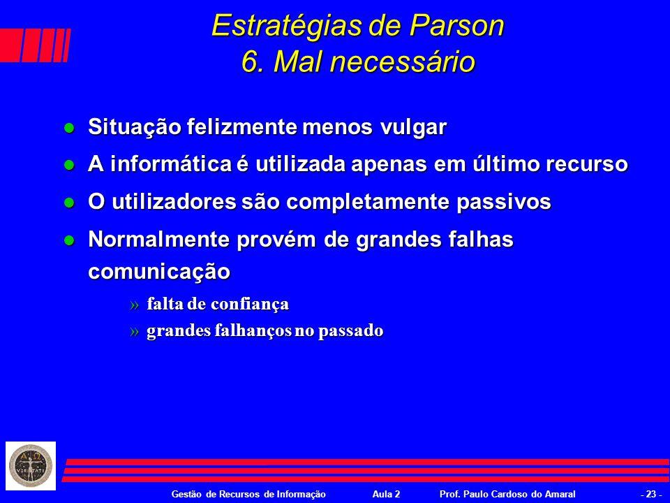 Gestão de Recursos de InformaçãoAula 2Prof. Paulo Cardoso do Amaral- 22 - Estratégias de Parson 5.