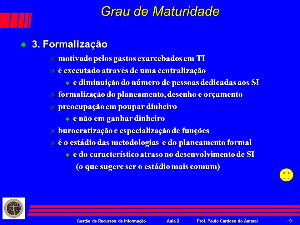 Gestão de Recursos de InformaçãoAula 2Prof. Paulo Cardoso do Amaral- 8 - Grau de Maturidade l 1.