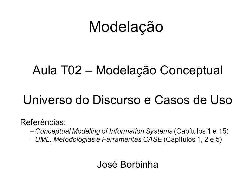 Modelação Aula T02 – Modelação Conceptual Universo do Discurso e Casos de Uso Referências: –Conceptual Modeling of Information Systems (Capítulos 1 e