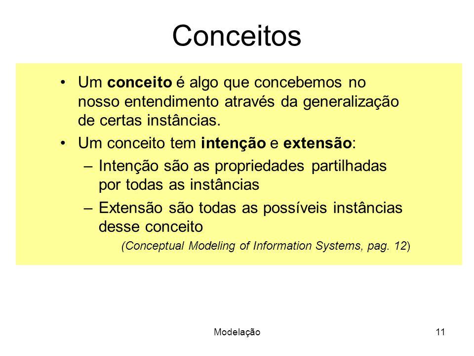Modelação11 Conceitos Um conceito é algo que concebemos no nosso entendimento através da generalização de certas instâncias. Um conceito tem intenção