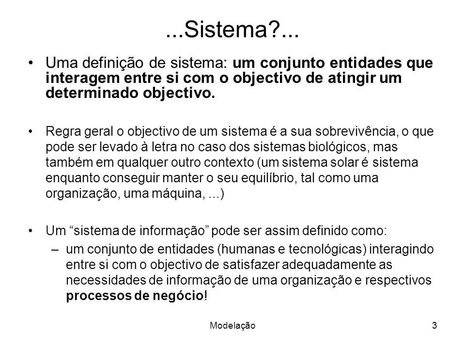 Modelação3...Sistema?... Uma definição de sistema: um conjunto entidades que interagem entre si com o objectivo de atingir um determinado objectivo. R