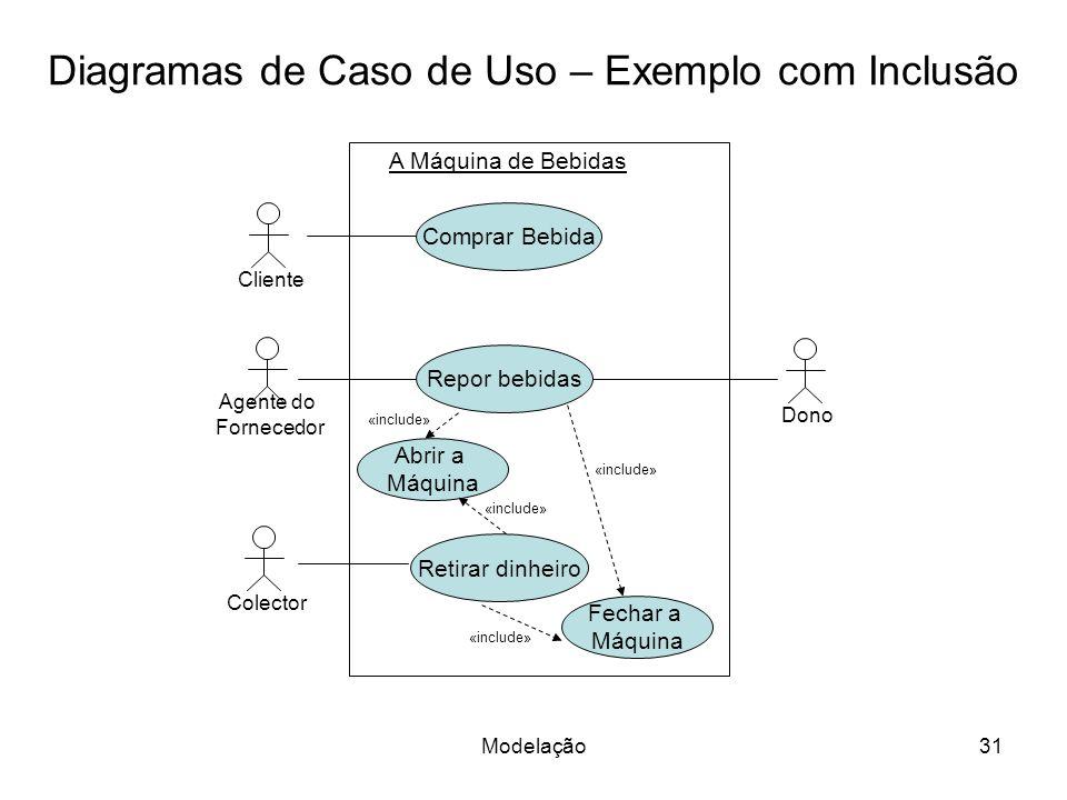Modelação31 Diagramas de Caso de Uso – Exemplo com Inclusão A Máquina de Bebidas Cliente Agente do Fornecedor Comprar Bebida Repor bebidas Retirar din