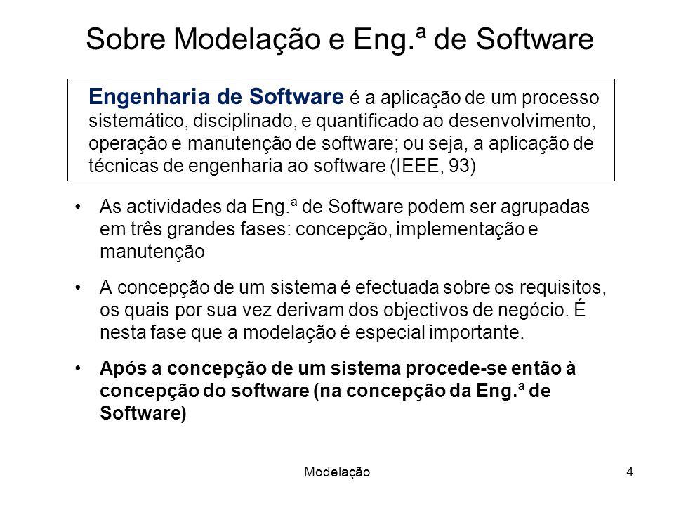 Modelação4 Sobre Modelação e Eng.ª de Software As actividades da Eng.ª de Software podem ser agrupadas em três grandes fases: concepção, implementação