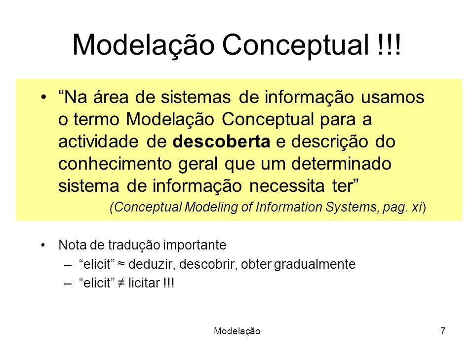 Modelação7 Modelação Conceptual !!! Na área de sistemas de informação usamos o termo Modelação Conceptual para a actividade de descoberta e descrição