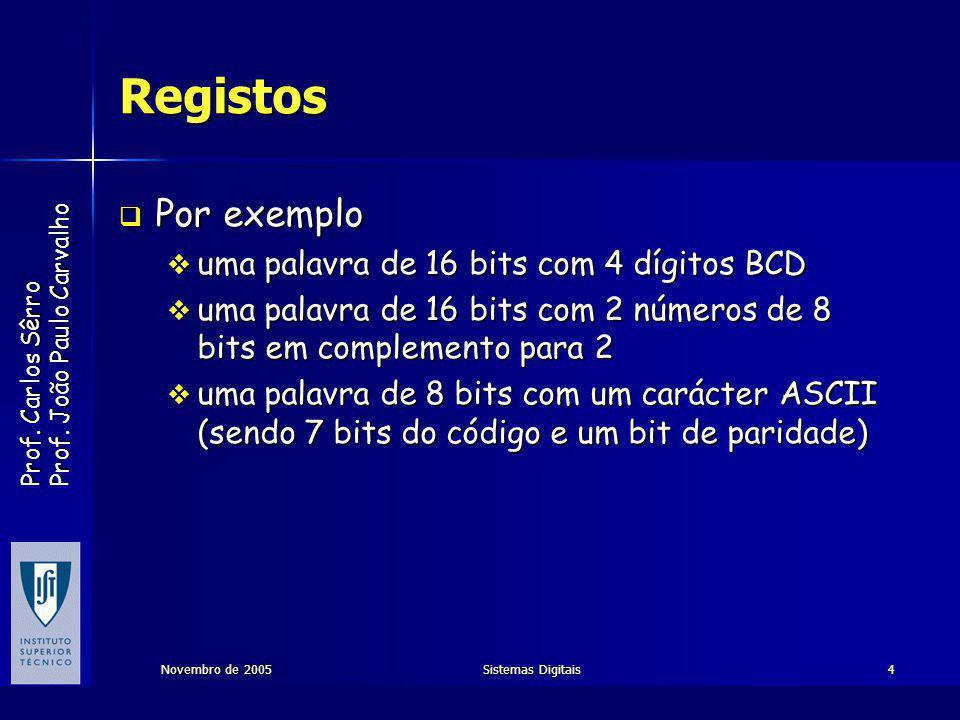 Prof.Carlos Sêrro Prof. João Paulo Carvalho Novembro de 2005Sistemas Digitais15 Registo de desloc.