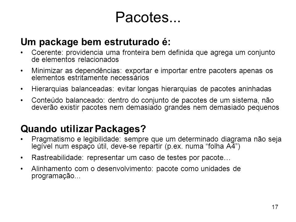 17 Pacotes... Um package bem estruturado é: Coerente: providencia uma fronteira bem definida que agrega um conjunto de elementos relacionados Minimiza
