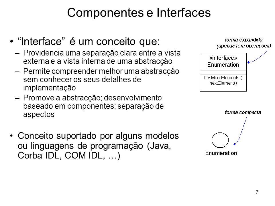 7 Componentes e Interfaces Interface é um conceito que: –Providencia uma separação clara entre a vista externa e a vista interna de uma abstracção –Pe