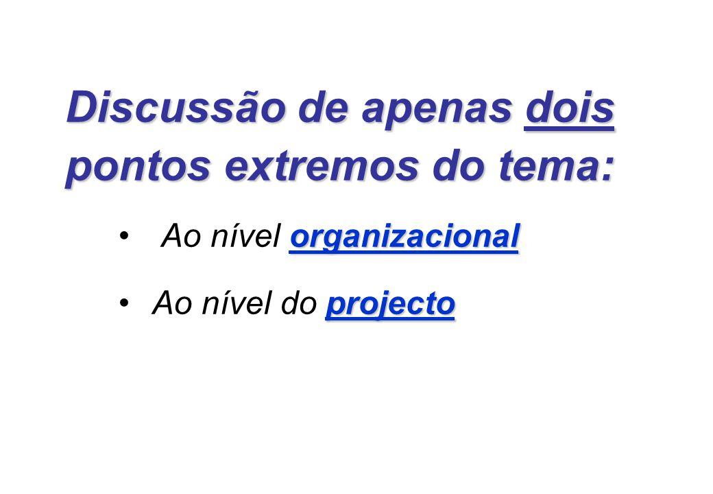 Discussão de apenas dois pontos extremos do tema: organizacional Ao nível organizacional projectoAo nível do projecto