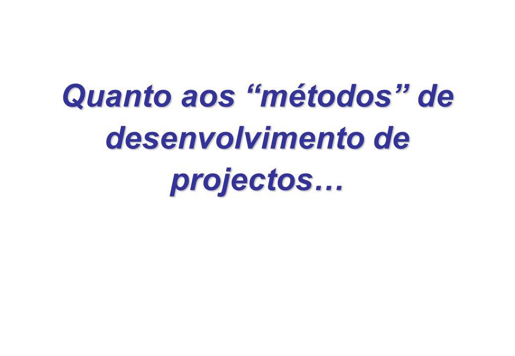 Quanto aos métodos de desenvolvimento de projectos…